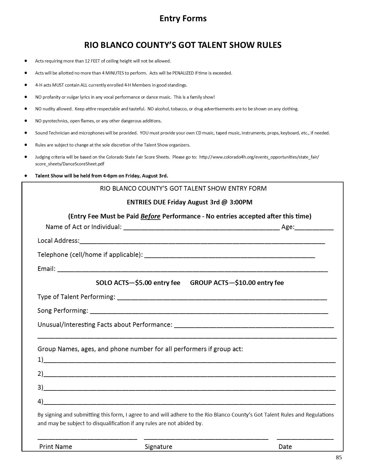 Talent Show Registration Form 2018