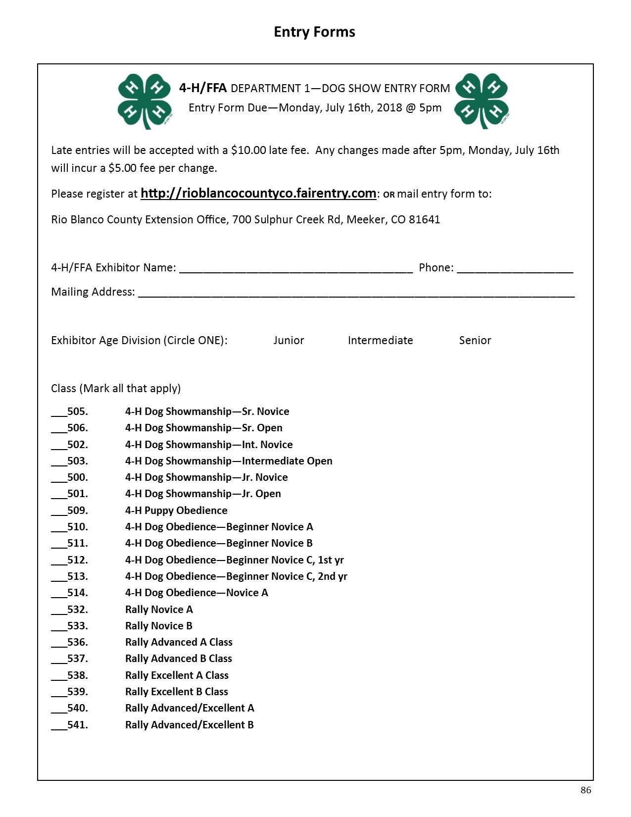 4-H Dog Show Registration Form 2018