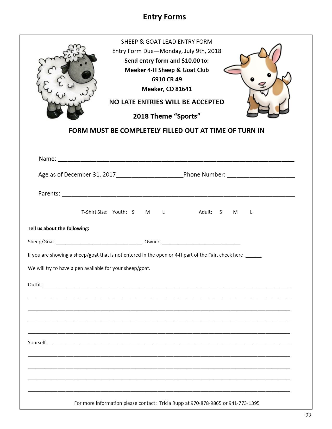 Sheep-Goat Lead Entry Form